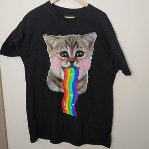 NWT Spencer's Rainbow Cat Barf Vomit Funny Tee